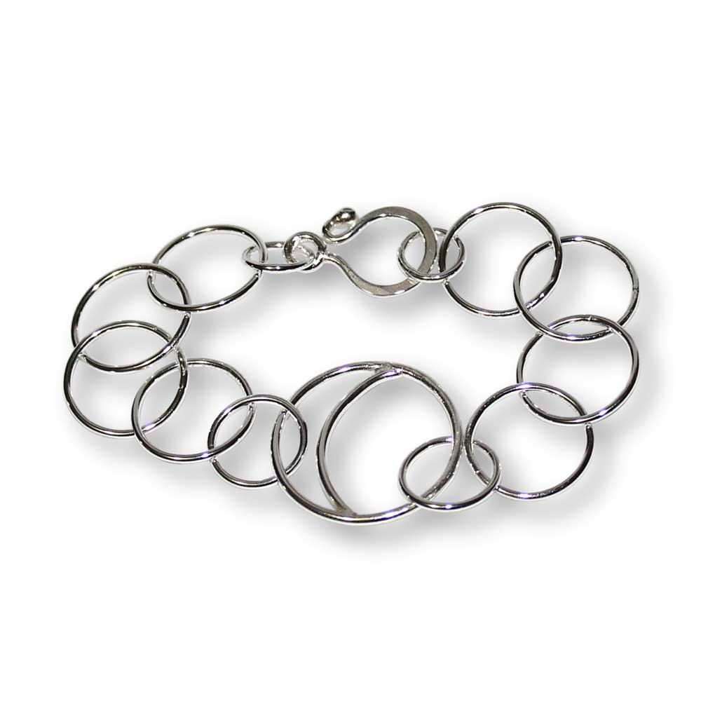 Windsong Jewellery Design Artisanal Argentium Silver Crescent Moon Link Bracelet