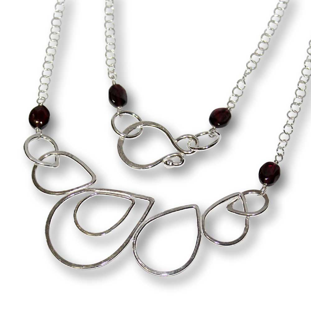 Windsong Jewellery Design Artisanal Argentium Silver Raindrop Wire-Wrapped Garnet Necklace