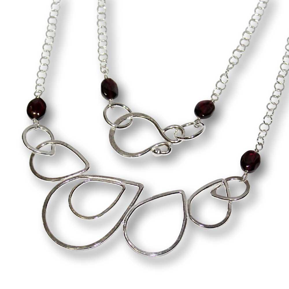 Windsong Jewellery Design Artisanal Argentium Silver Raindrop Wire-Wrapped Garnet Necklace