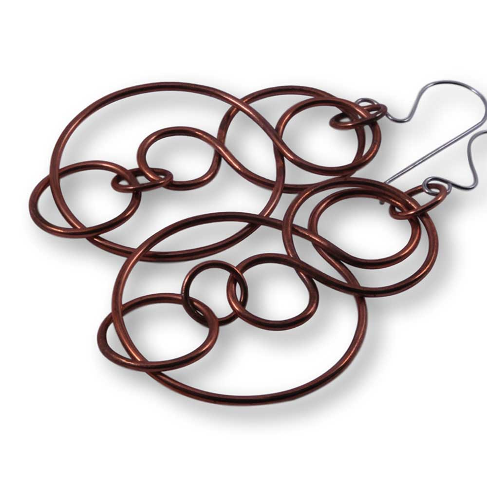Windsong Jewellery Design Artisanal Copper Intertwined Link Earrings