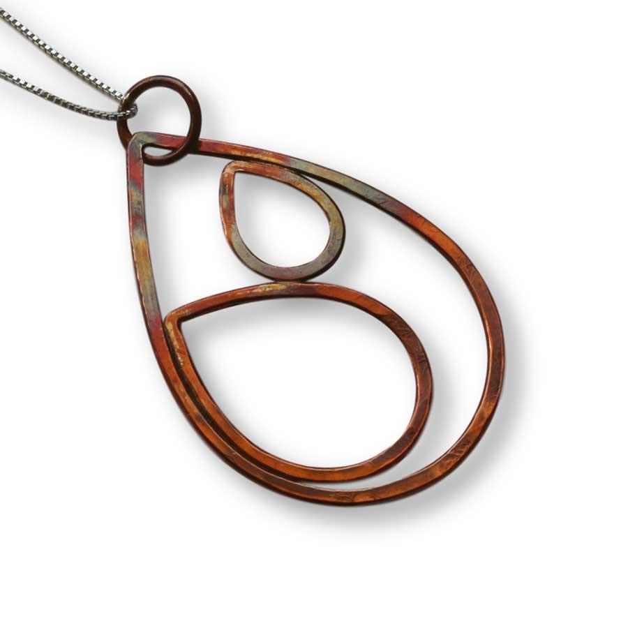 Copper Double Raindrop Pendant Necklace