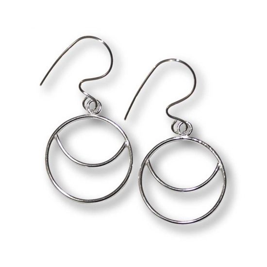 Argentium Silver Crescent Moon Earrings Windsong Jewellery Design