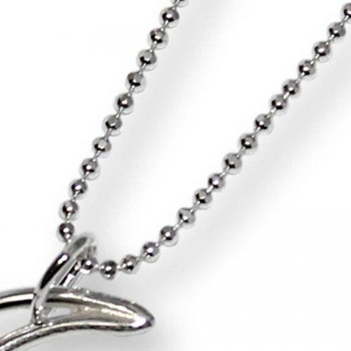Argentium Silver Crescent Moon Necklace Large