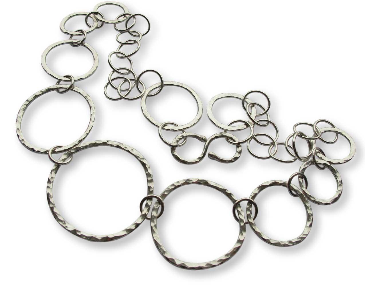 Argentium Silver Hammer-Textured Link Necklace