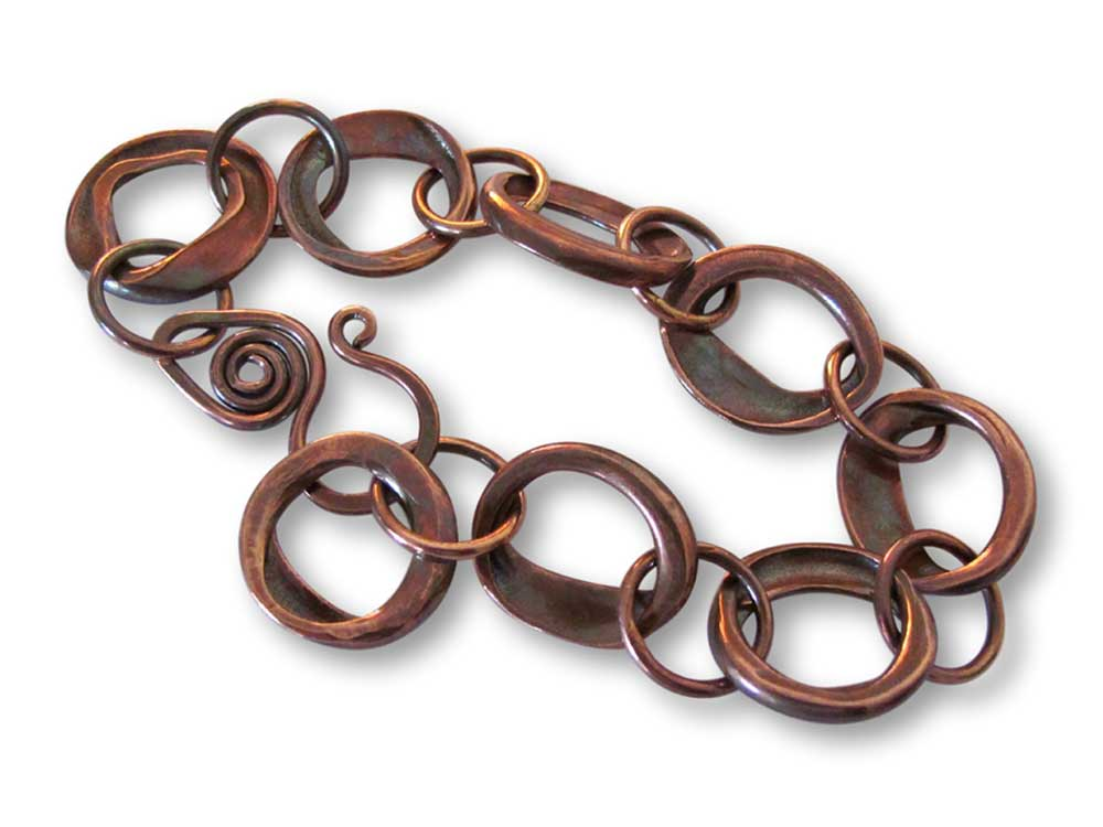 Copper Squashed Pipe Bracelet