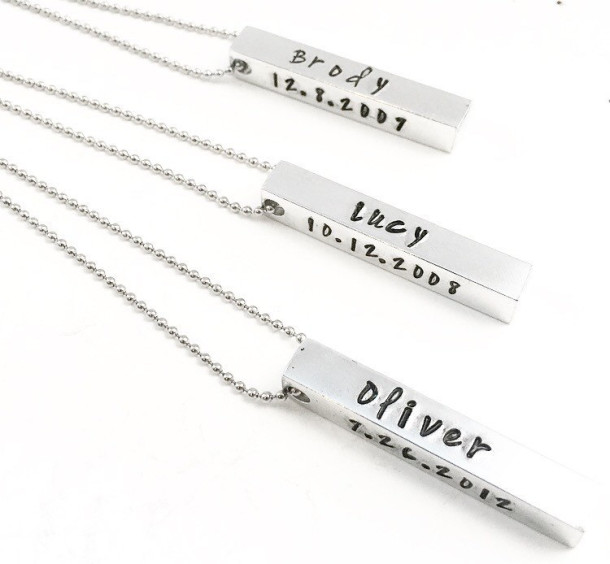Personalized Bar Pendant Necklace Mystic Soul Jewelry