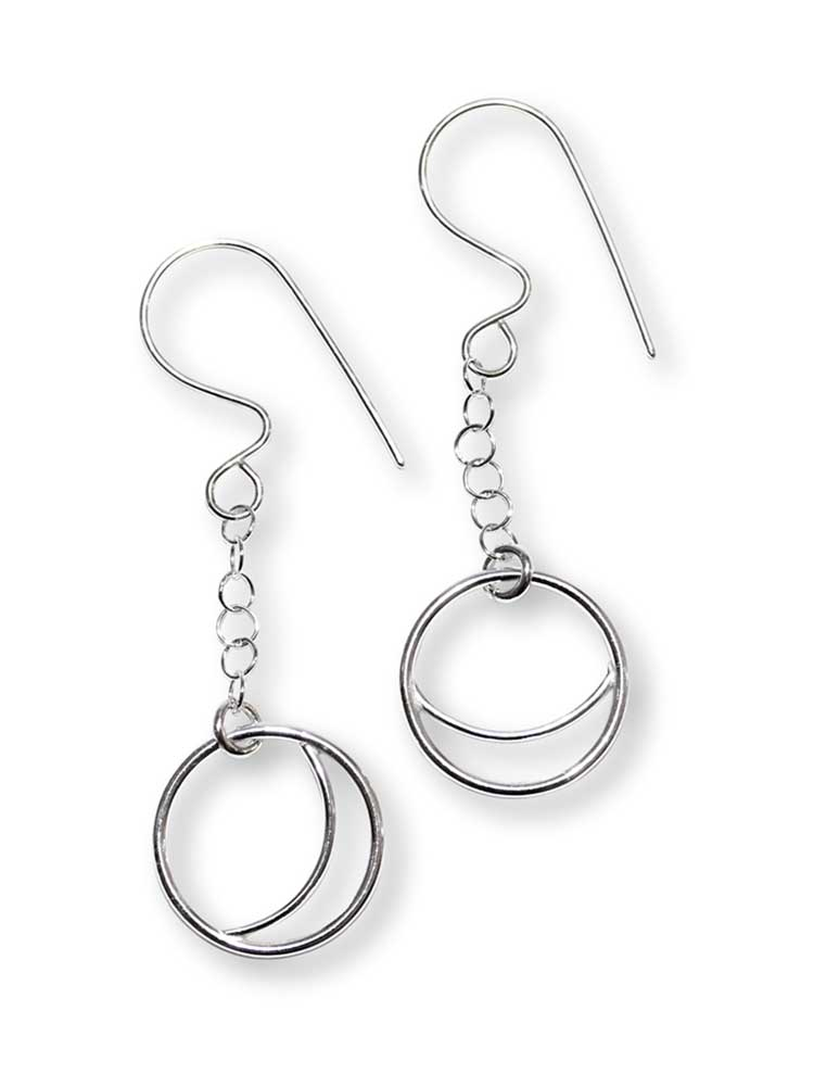 Argentium Silver Crescent Drop Earrings Windsong Jewellery Design