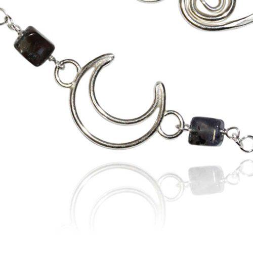 Argentium Silver Crescent Gemstone Bracelet Windsong Jewellery Design