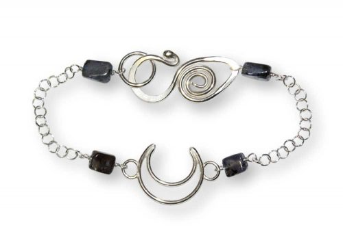 Argentium Silver Crescent Gemstone Bracelet Windsong Jewellery Design