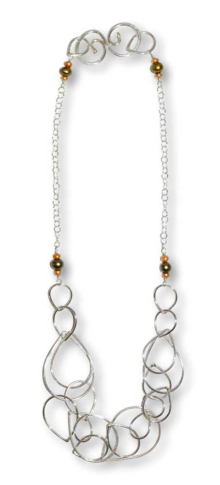 Argentium Silver Multi-Raindrop Necklace Wire-Wrapped Freshwater Pearls Windsong Jewellery Design