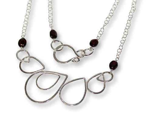 Argentium Silver Raindrop Garnet Necklace Windsong Jewellery Design