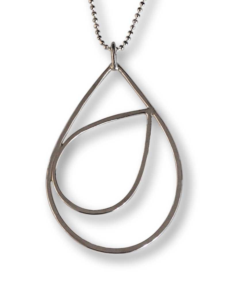 Argentium Silver Raindrop Pendant Necklace