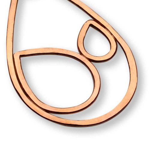 Copper Large Raindrop Pendant Necklace Windsong Jewellery Design