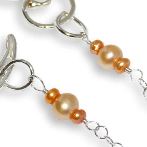 Argentium Silver Crescent Pearl Necklace Windsong Jewellery Design